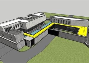 某现代风格私人住宅多层别墅设计SU(草图大师)模型