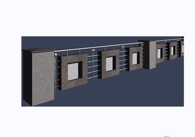 園林景觀詳細的欄桿圍欄素材設計3d模型及效果圖