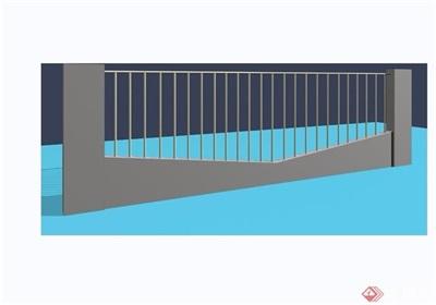 園林景觀詳細的圍墻欄桿素材設計3d模型及效果圖