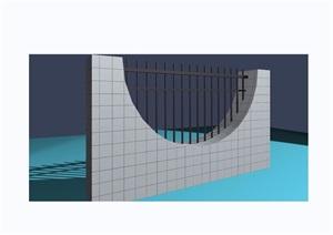 园林景观围墙栏杆素材设计3d模型及效果图