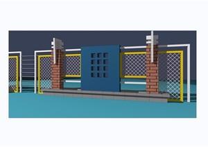 详细的围墙栏杆素材设计3d模型及效果图