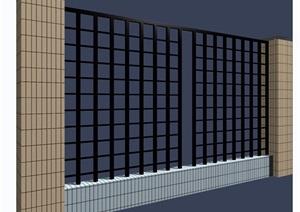 园林景观详细的围墙素材设计3d模型及效果图