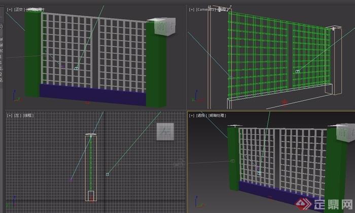 園林景觀詳細的圍墻素材設計3d模型及效果圖