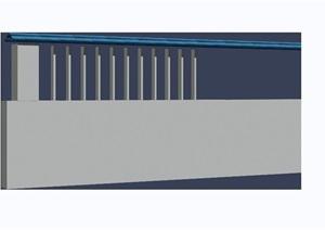 现代围墙素材设计3d模型及效果图