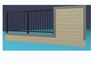 某独特围墙栏杆素材设计3d模型及效果图