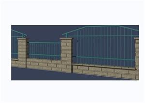 园林景观详细的围墙栏杆素材设计3d模型及效果图