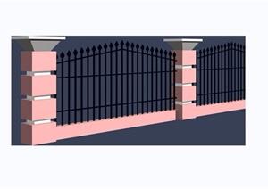 小区围墙栏杆素材设计3d模型及效果图