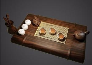 古典中式茶具素材3d模型及效果图