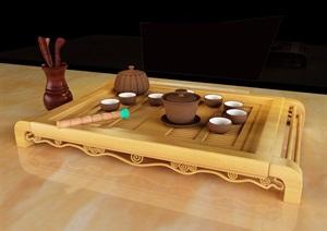 古典中式茶具完整设计3d模型及效果图