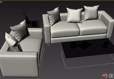 現代風格室內家具沙發組合3d模型