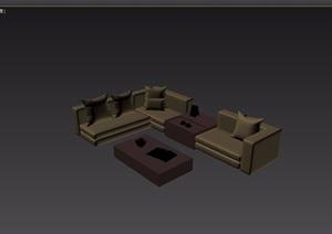 现代风格室内沙发茶几家具组合3d模型