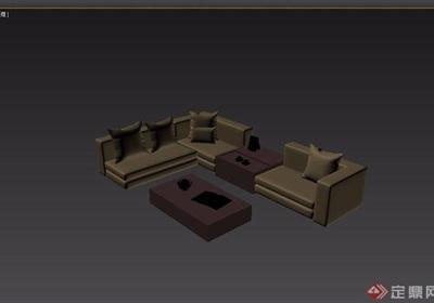 現代風格室內沙發茶幾家具組合3d模型