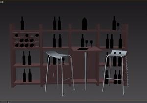 现代风格室内桌椅柜子家具组合3d模型