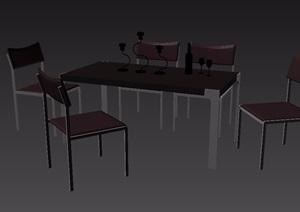 现代风格室内详细餐桌椅组合3d模型