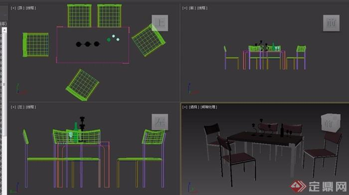 現代風格室內詳細餐桌椅組合3d模型