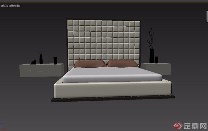 現代風格室內臥室床柜家具組合3d模型