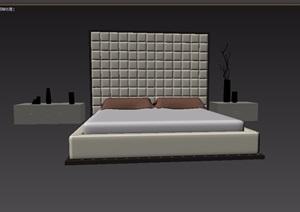 现代风格室内卧室床柜家具组合3d模型