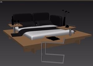 现代风格室内卧室床家具组合3d模型
