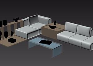 现代风格室内独特沙发茶几家具组合3d模型