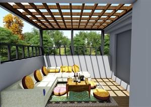 屋頂花園露臺現代景觀設計SU(草圖大師)模型