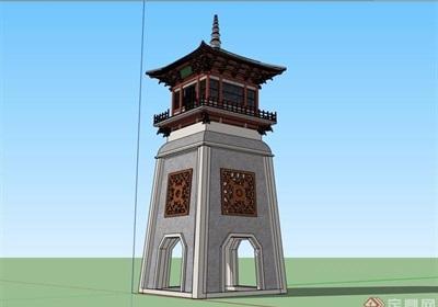 古典中式风格详细的塔楼素材设计su模型