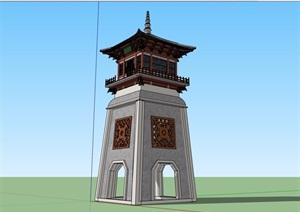 古典中式风格详细的塔楼素材设计SU(草图大师)模型