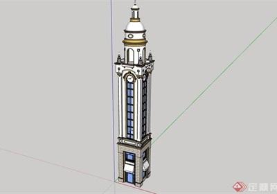 欧式风格详细的塔楼设计su模型