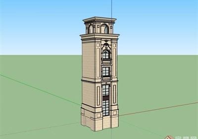 欧式风格详细的塔素材设计su模型