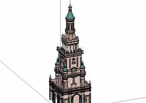 欧式详细的景观塔楼素材设计SU(草图大师)模型