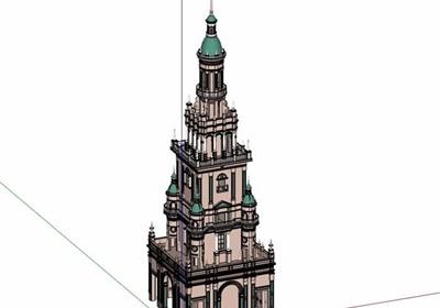欧式详细的景观塔楼素材设计su模型