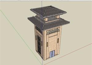 中式风格详细塔楼素材设计SU(草图大师)模型