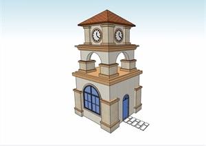 欧式风格详细的钟塔塔楼素材设计SU(草图大师)模型