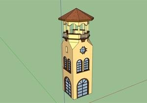 欧式风格详细的景观塔设计SU(草图大师)模型