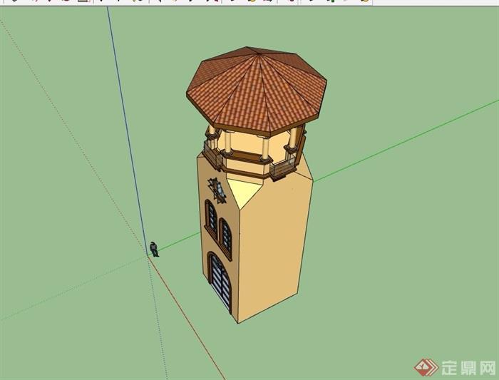 欧式风格详细的景观塔设计su模型