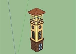 欧式风格详细的景观塔楼素材SU(草图大师)模型