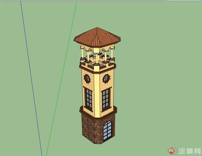 欧式风格详细的景观塔楼素材su模型