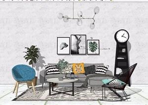 现代住宅室内客厅沙发茶几装饰设计SU(草图大师)模型