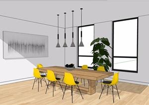 现代住宅室内餐桌椅素材设计SU(草图大师)模型