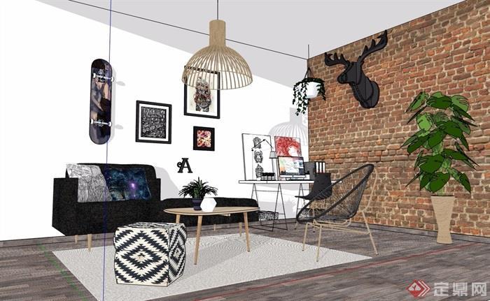 現代住宅室內裝飾客廳設計su模型