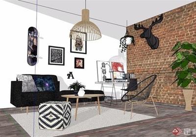 现代住宅室内装饰客厅设计su模型