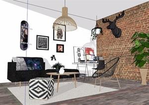 现代住宅室内装饰客厅设计SU(草图大师)模型