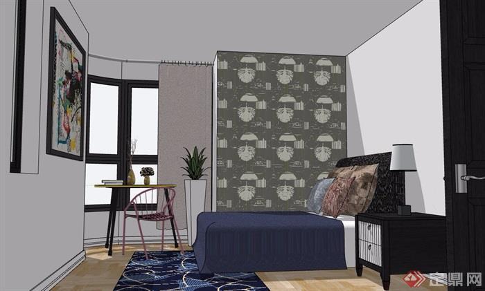 現代住宅室內臥室裝飾設計su模型