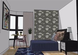 现代住宅室内卧室装饰设计SU(草图大师)模型