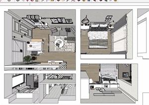 现代住宅室内完整空间装饰设计SU(草图大师)模型