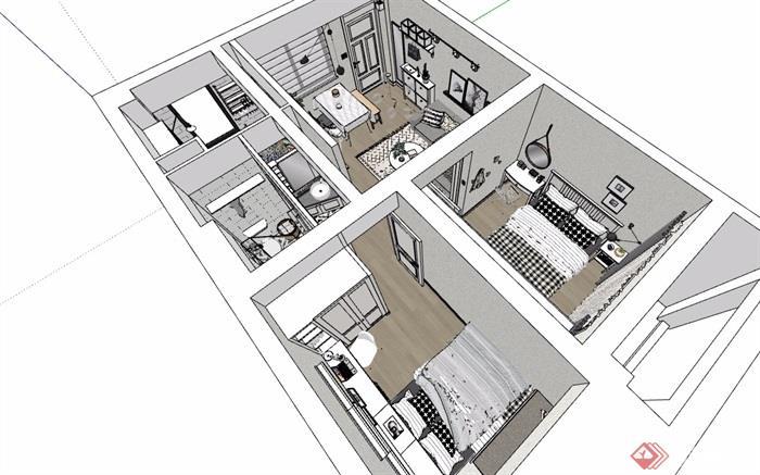 现代住宅室内完整空间装饰设计su模型