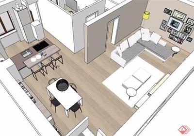 现代住宅室内一室一厅装饰设计su模型