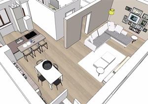 现代住宅室内一室一厅装饰设计SU(草图大师)模型