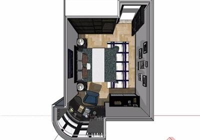 现代住宅卧室室内装饰设计su模型