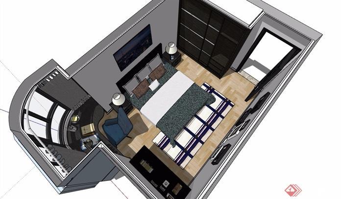 現代住宅臥室室內裝飾設計su模型