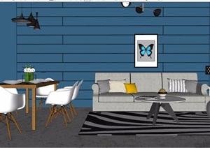 现代住宅室内客餐厅装饰设计SU(草图大师)模型